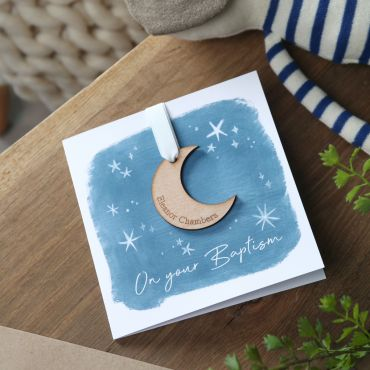 Moon & Stars Christening or Baptism Day Card