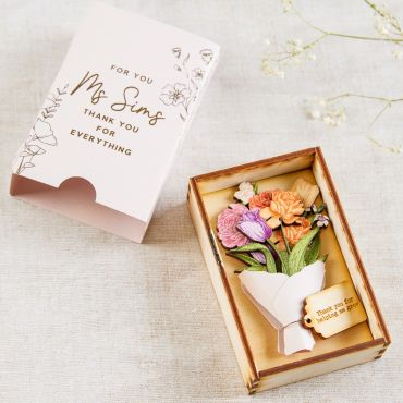 Wooden Bouquet of Flowers Matchbox Keepsake