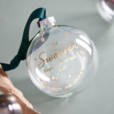 Typographic Family Foiled Bauble