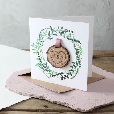 Engraved Tree Slice Anniversary Card
