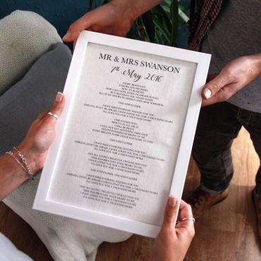 Cotton Anniversary Lyrics/Vows Print