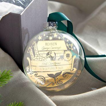 Noah's Ark First Christmas Foiled Bauble
