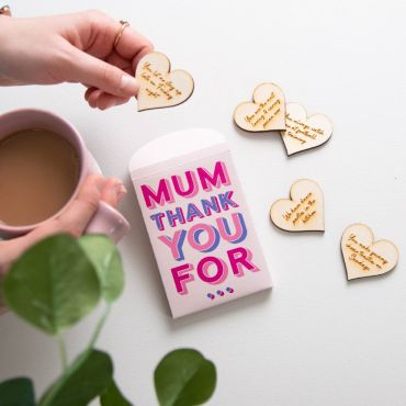 Typographic Packet of Engraved Heart Keepsakes