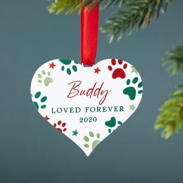 Paw Prints Heart Pets Christmas Decoration
