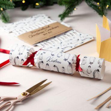 Monochrome Penguin Pattern Christmas Crackers