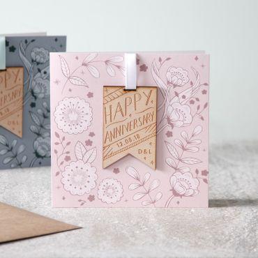 Printed Floral Anniversary Keepsake Card
