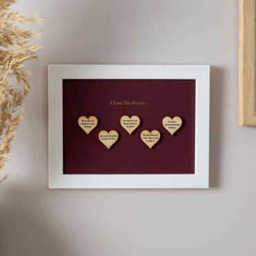 Reasons I love you wooden heart Print