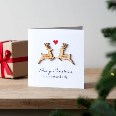 Wooden Reindeer Couple Christmas Keepsake Card