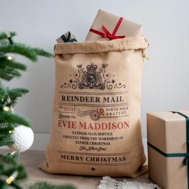 Reindeer Mail Personalised Christmas Sack