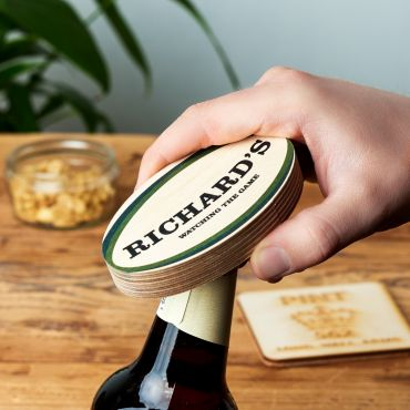 Personalised Wooden Rugby Ball Bottle Opener