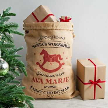 Rocking Horse Personalised First Christmas Sack