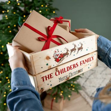 Illustrated Santa Sleigh Christmas Eve Crate