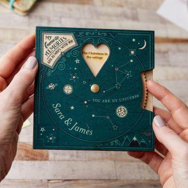 Space-inspired wooden wedding anniversary keepsake