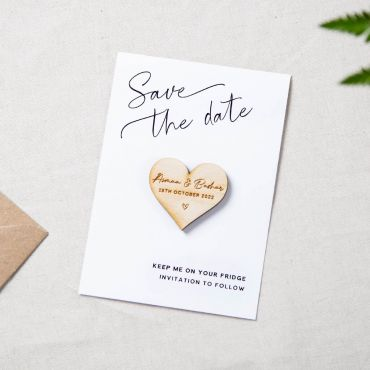 Heart Shaped Magnet with Corner Script Save the Date Card- White