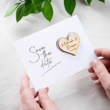 Heart Shaped Magnet Foiled Save the Date Card - White