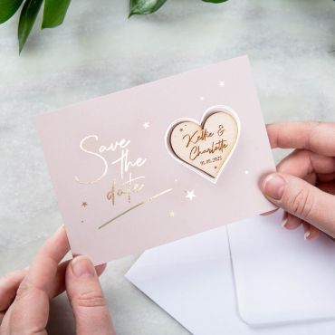 Heart Shaped Magnet with Stars Foiled Save the Date Card - Pink