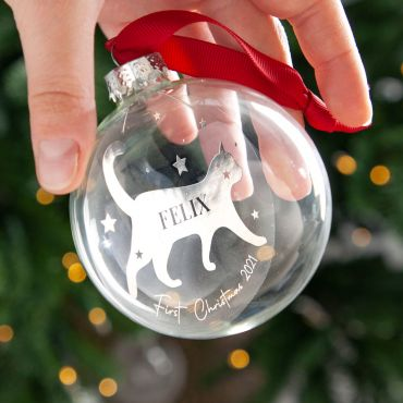 Personalised Cat Silhouette Foiled Glass Bauble