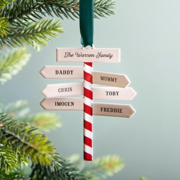 Family Sign Post Hanging Christmas Decoration