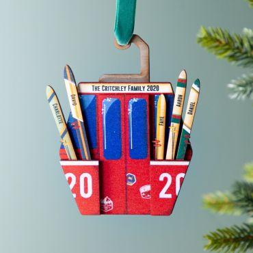 Wooden Ski Lift Family Christmas Decoration