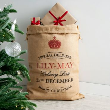 Special Delivery Personalised Hessian Christmas Sack
