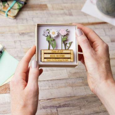 Thank You Teacher Mini Wooden Flower Planter
