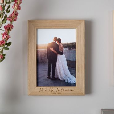 Personalised Oak Photo Frame with 2 Lines of Engraved Text