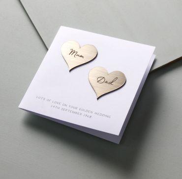 Golden (50th) Anniversary Metallic Hearts Card