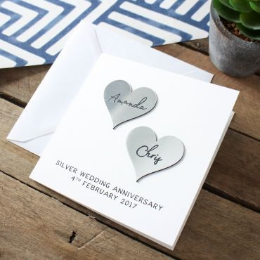 Silver (25th) Anniversary Metallic Hearts Card
