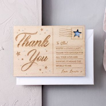 Personalised 'Thank You' Wooden Post Card