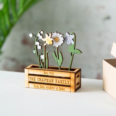 Family of Birth Flowers in Mini Wooden Planter