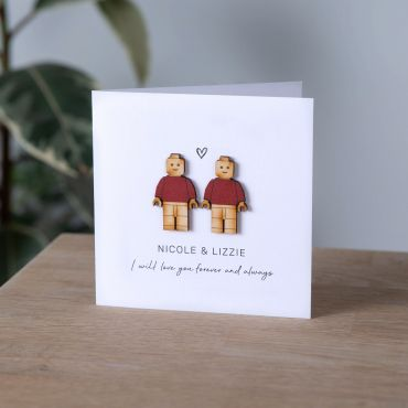 Wooden Character Couple Keepsake Card