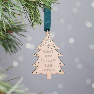 Personalised Wooden Christmas Tree Family Hanging Decoration
