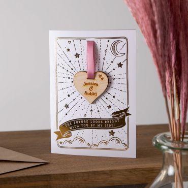 Wooden Heart Foiled Tarot Style Keepsake Card