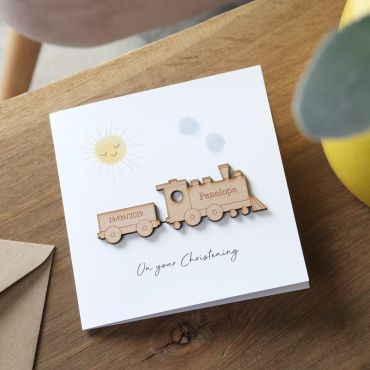 Wooden Train Christening Card