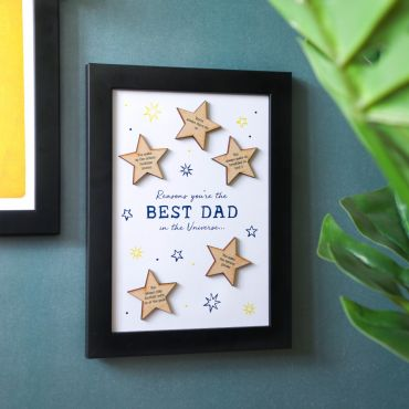 Best Dad in the Universe Wooden Stars Print