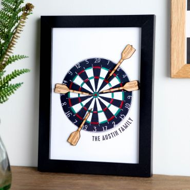 A5 Wooden Dart Board Framed Family Print