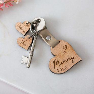 Family of Hearts with Dates Keepsake Keyring
