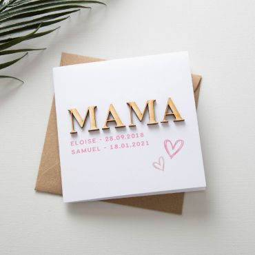 Wooden Letters Mother's Day Card