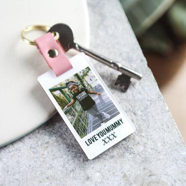 'Pinks' Leather Photo Memory Keyring