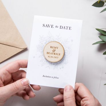 Floral Line Drawing Save the Date Magnet Keepsake Card