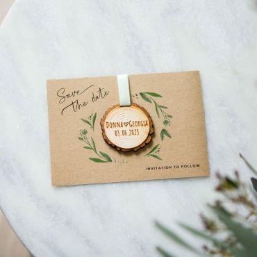 Hanging Tree Slice Save the Date Keepsake Card - Kraft