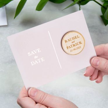 Simple Foiled Save the Date Magnet Card - Pink