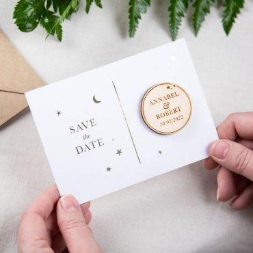 Foiled Moon & Stars Save the Date Magnet Card