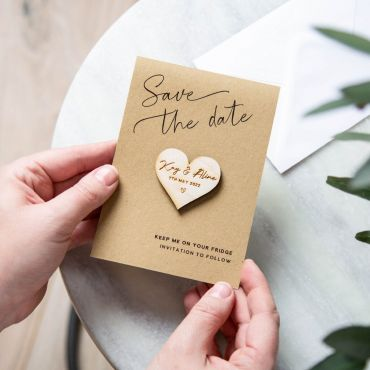 Heart Shaped Magnet with Corner Script Save the Date Card - Kraft