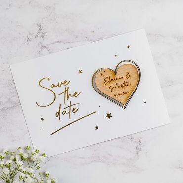 Heart Shaped Magnet with Stars Foiled Save the Date Card- White