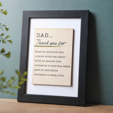 Thanks Dad A5 Printed Wooden Postcard in a Black Frame