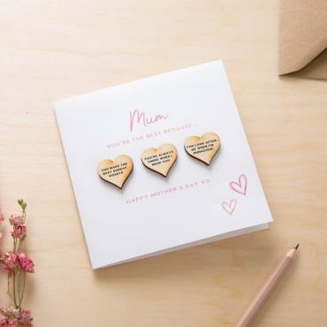 Mother's Day 3 Reasons Wooden Hearts Keepsake Card