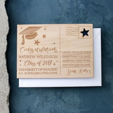 Personalised Graduation Wooden Post Card