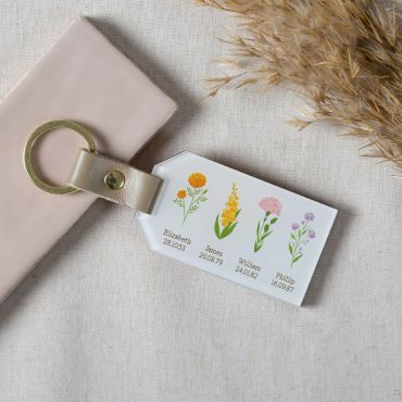 Wooden Personalised Birth Flowers Family Keyring