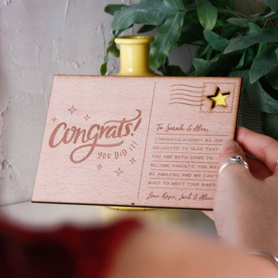 Personalised 'Congrats' Wooden Post Card